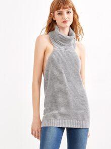 Grey Turtleneck Backless Sweater