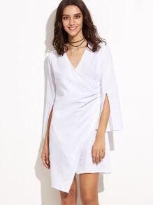 White Split Sleeve Asymmetric Wrap Dress
