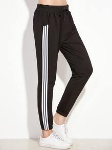 Black Striped Side Pants