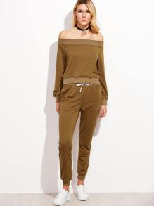 Khaki Off The Shoulder Sweatshirt With Drawstring Pants