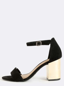 Single Sole Metallic Block Heels BLACK