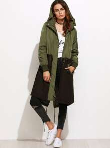 Contrast Mixed Media Drawstring Utility Coat With Hood