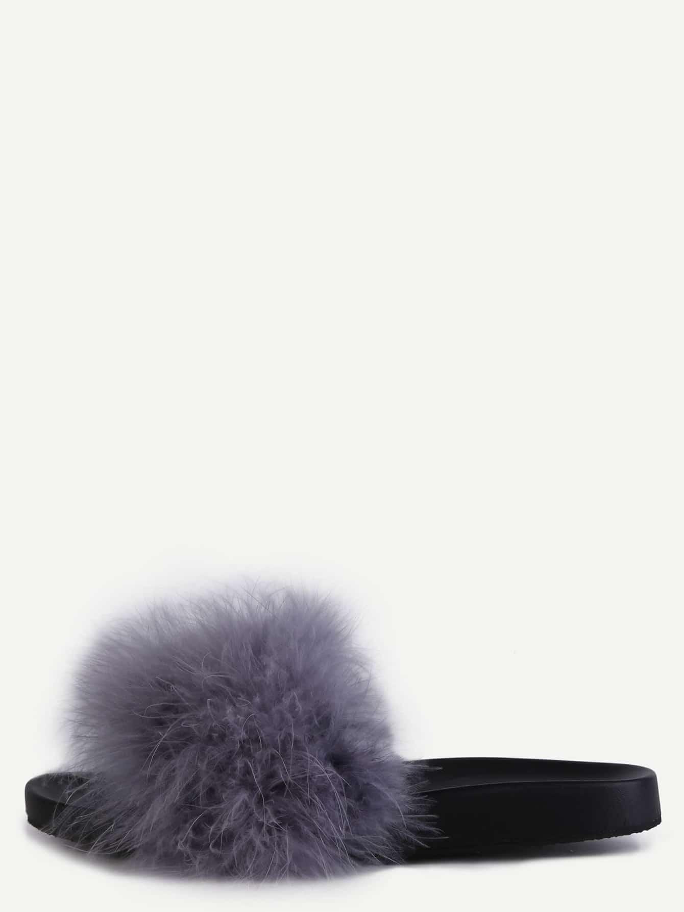 Grey Faux Leather Rubber Peep Toe Flip Flops Fur Lined Casual Cute Sandals.