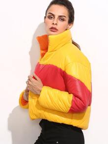 Color Block Stand Collar Padded Jacket