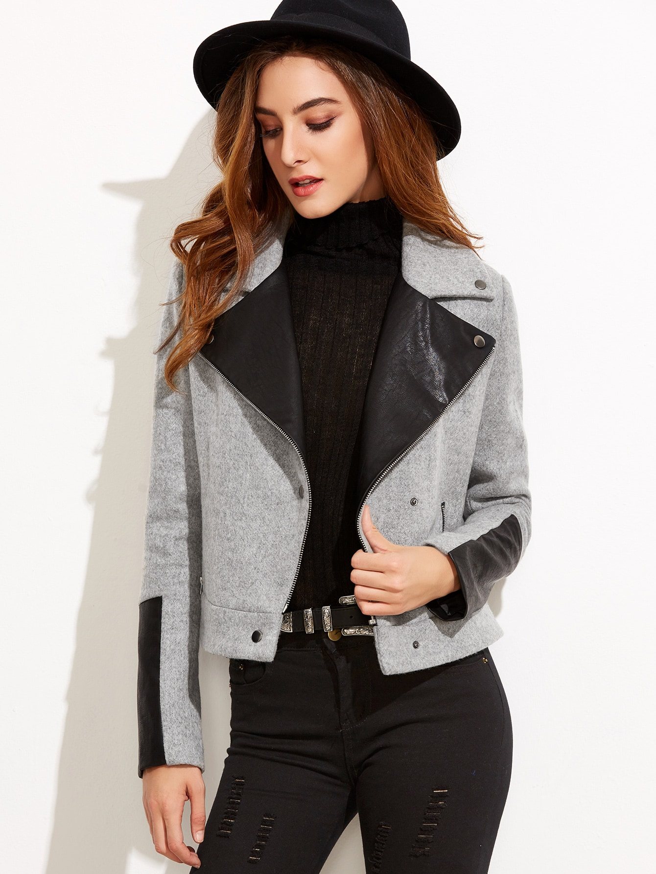 Heather Grey Contrast Faux Leather Combo Jacket