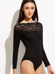 Body manga larga con encaje floral - negro