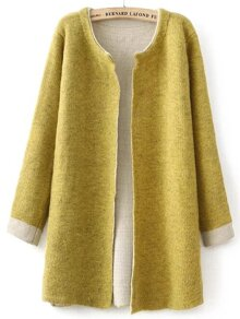 Yellow Open Front Contrast Cuff Cardigan