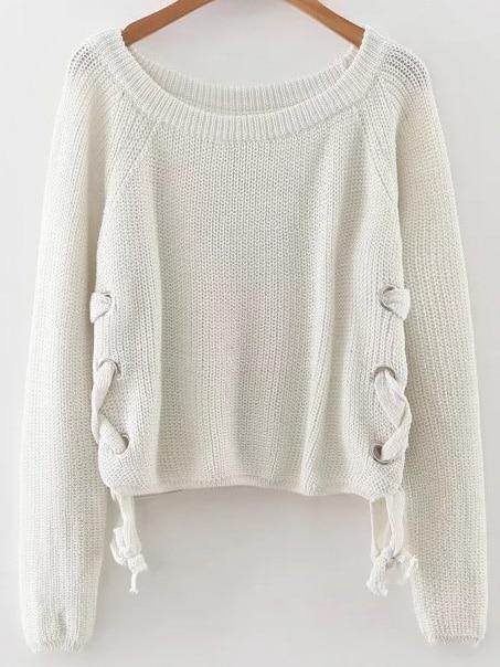 White Eyelet Lace Up Loose Sweater sweater160928226