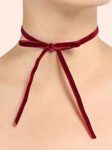 Velvet Bow Ribbon Choker BURGUNDY
