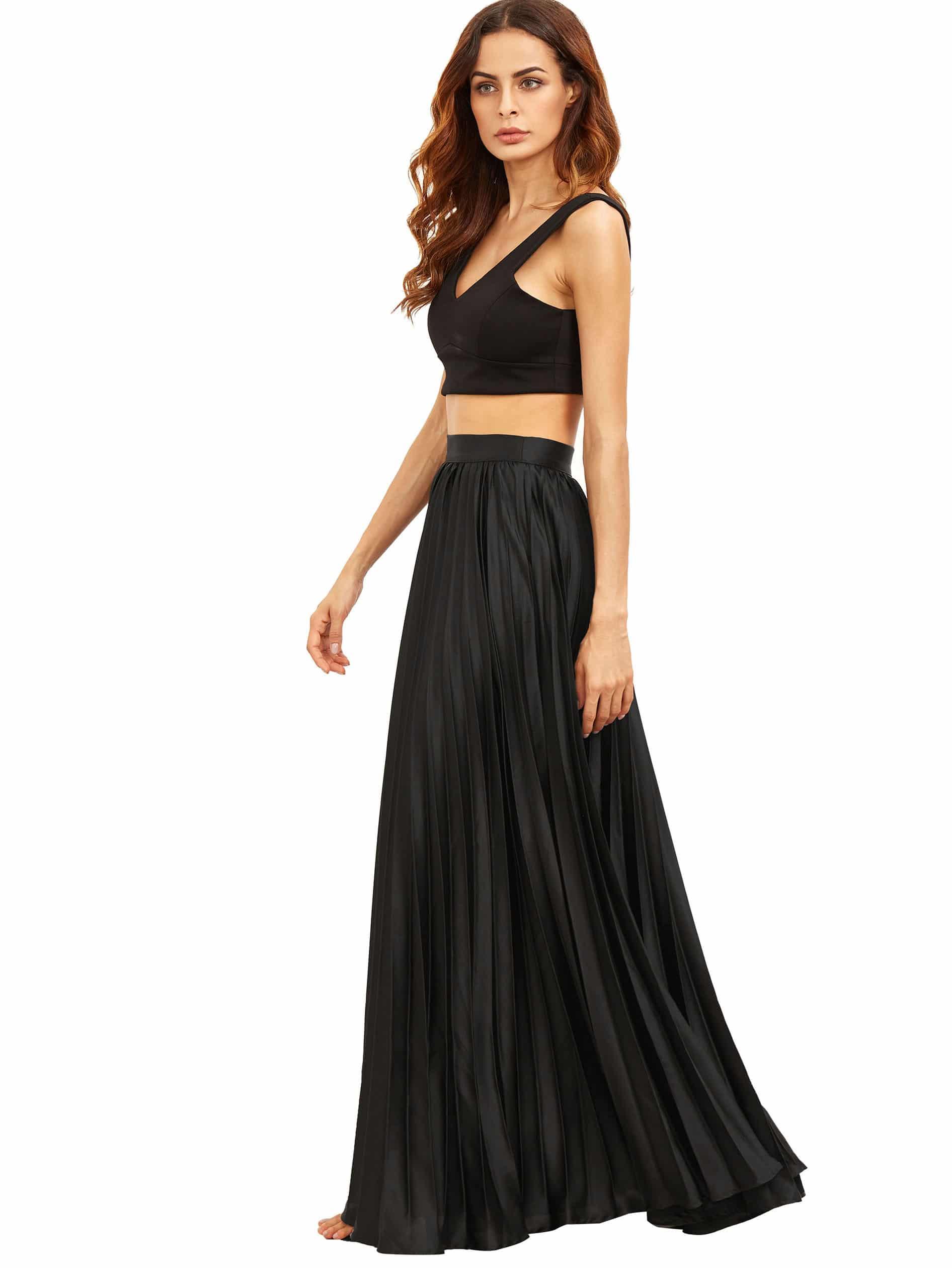 Фото Pleated Flare Floor Length Skirt With Zipper Side. Купить с доставкой