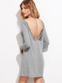 Grey Cold Shoulder V Back Tee Dress