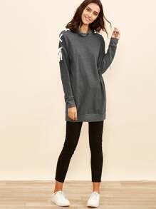 Heather Grey Lace Up Drop Shoulder Long Sweatshirt