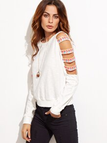 Ladder Cutout Sleeve Embroidered Sweatshirt