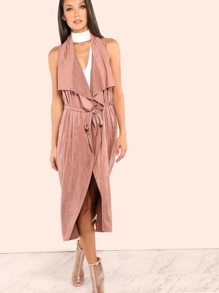 Waterfall Lapel Suede Vest ROSE