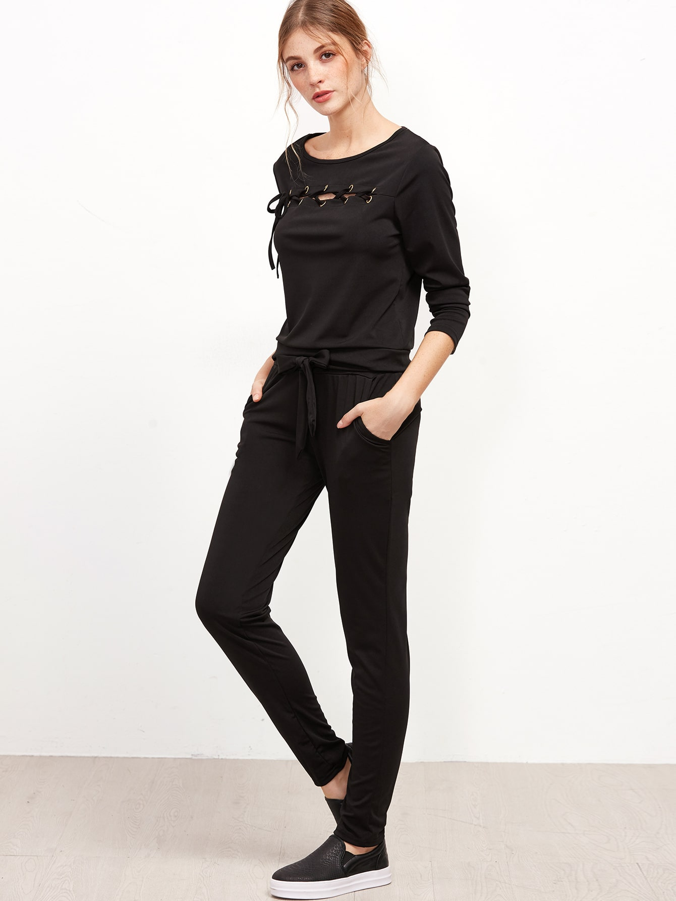 Black Eyelet Lace Up Trim Sweatshirt With Pants twopiece160927302