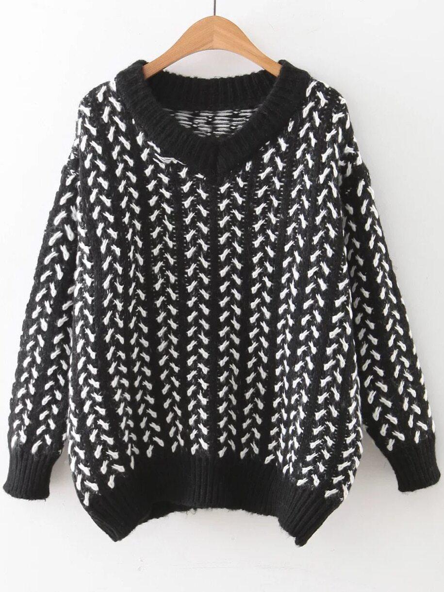 Black V Neck Ribbed Trim Loose Sweater sweater160901216