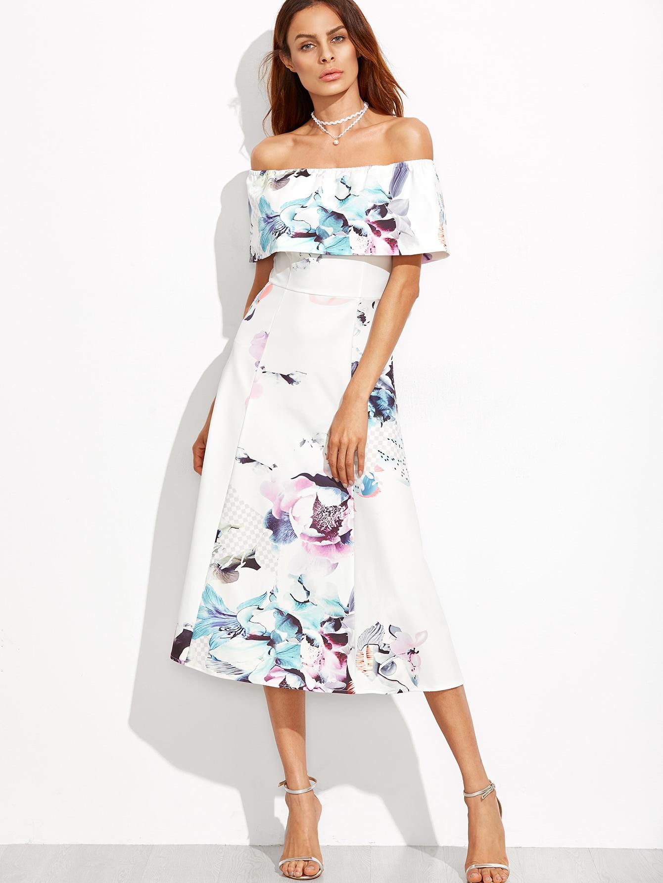 Off The Shoulder Floral A-Line Dress