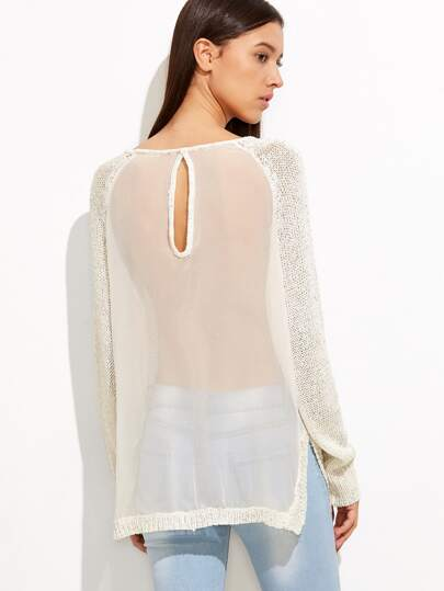 Pull fendu avec insertion mesh - blanc