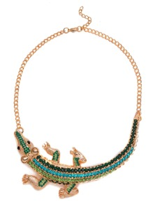 Green Rhinestone Crocodile Statement Necklace
