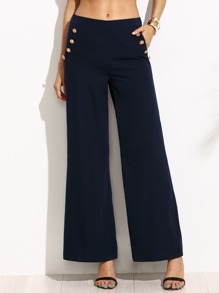 Navy Wide Leg Sailor Pants