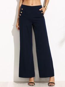 Navy Wide Leg Sailor Pants