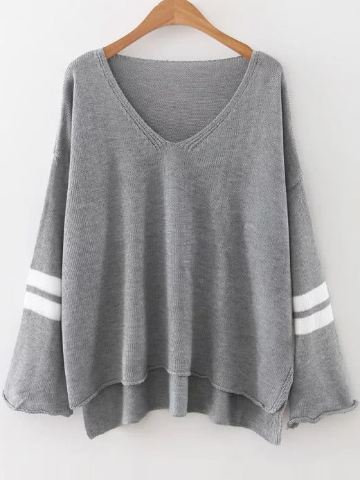 Grey Striped V Neck High Low SweaterGrey Striped V Neck High Low Sweater<br><br>color: Grey<br>size: one-size