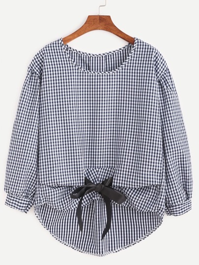 Checkered Bow Tie Dip Hem Blouse
