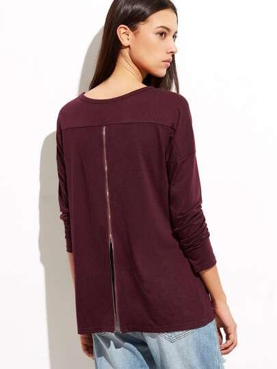 Burgundy Drop Shoulder Zip Back T-shirt
