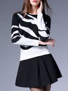 Black Color Block Knit Top With Skirt