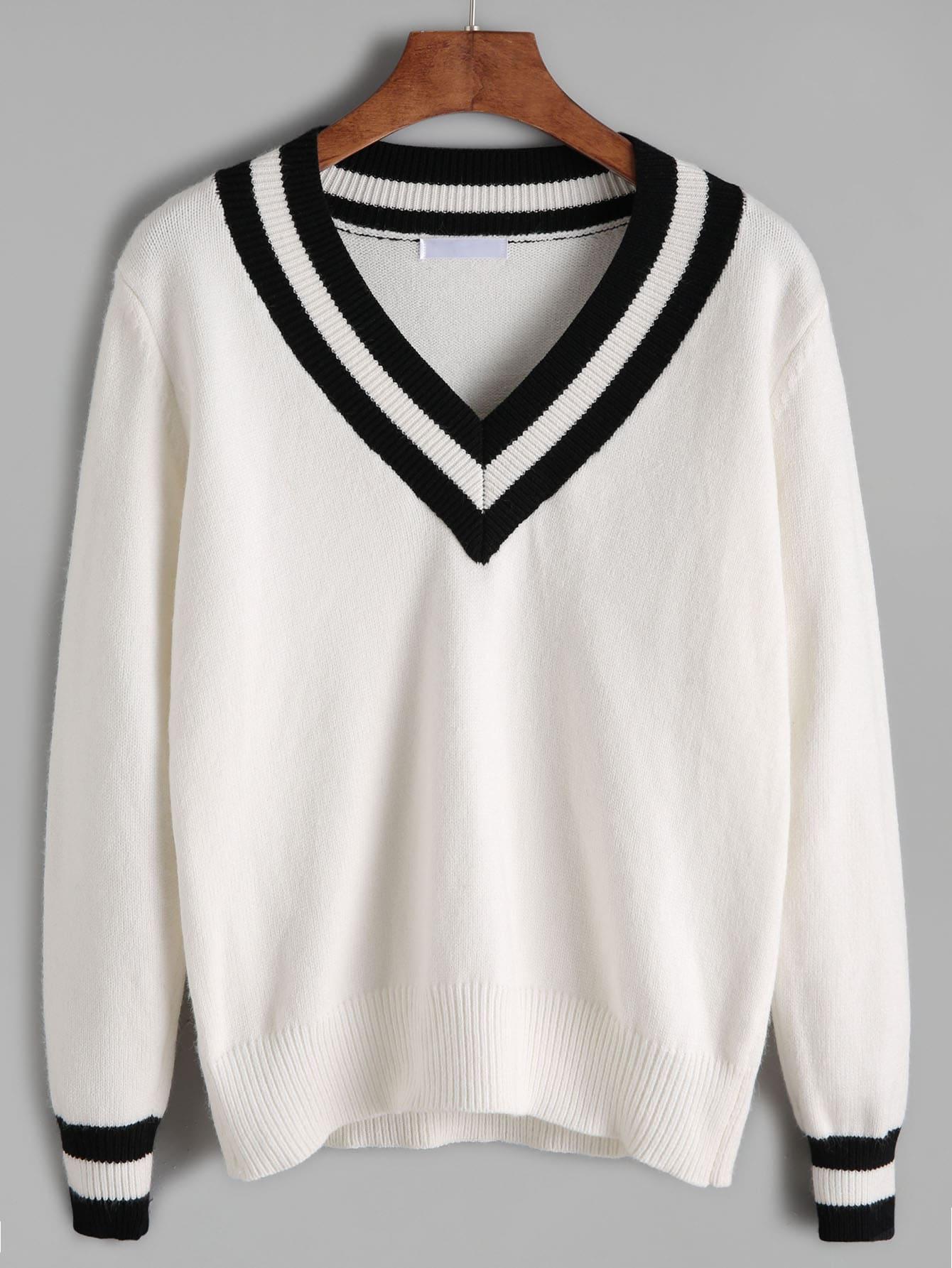 White Contrast Striped Trim Sweater sweater161005412