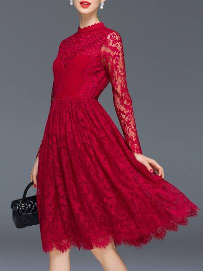 Burgundy Sheer Gauze Embroidered Lace A-Line Dress