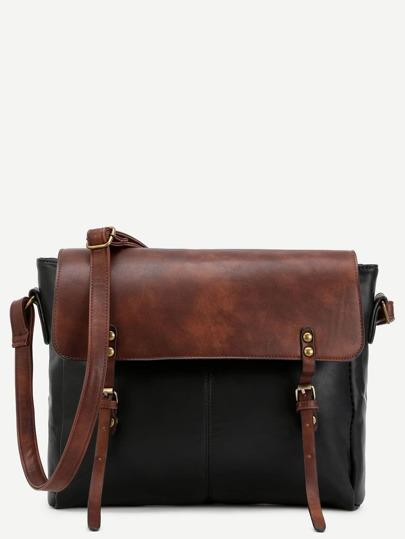 Color Block Faux Leather Studded Satchel Bag