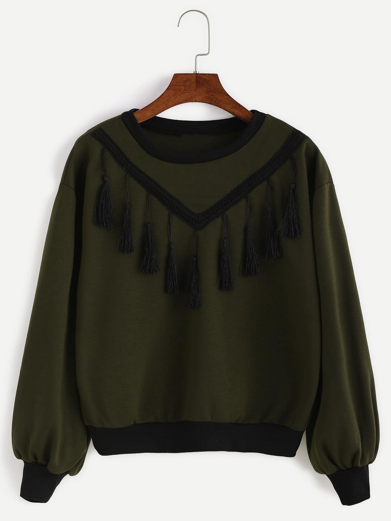 Army Green Lantern Sleeve Fringe Sweatshirt drop shoulder lantern sleeve sweatshirt