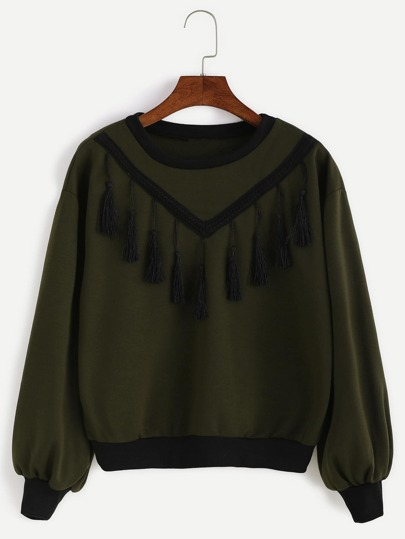 Army Green Lantern Sleeve Fringe Sweatshirt