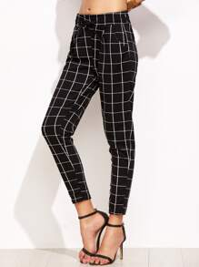 Grid Print Drawstring Peg Pants
