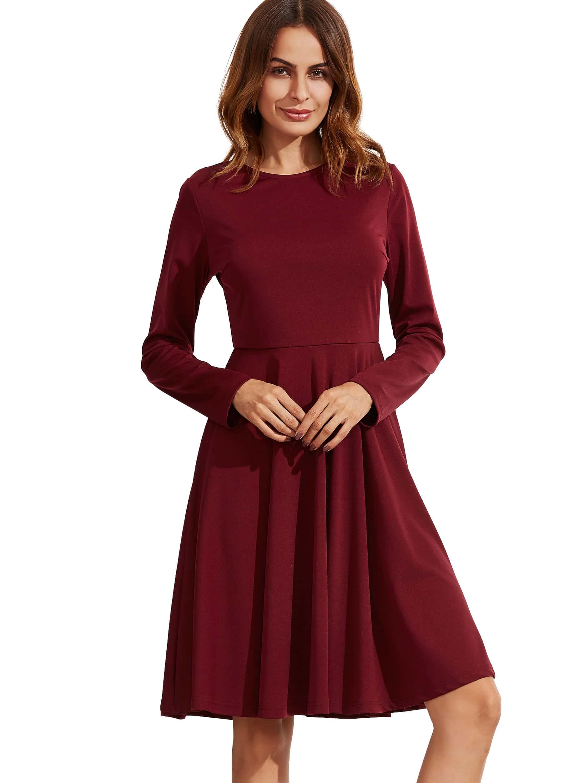 Zipper Back Swing Dress dress160905580