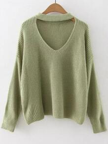 Green Choker Neck Drop Shoulder Sweater