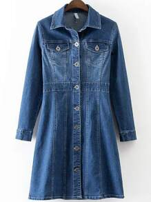 Blue Button Up Denim Dress With Pockets