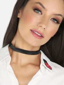 Solid Faux Leather Choker Necklace BLACK