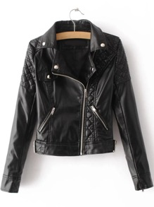 Black Textured Detail PU Jacket With Zipper