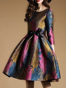 Multicolor Jacquard A-Line Dress