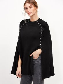 Black Metal Button Embellished Poncho Sweater