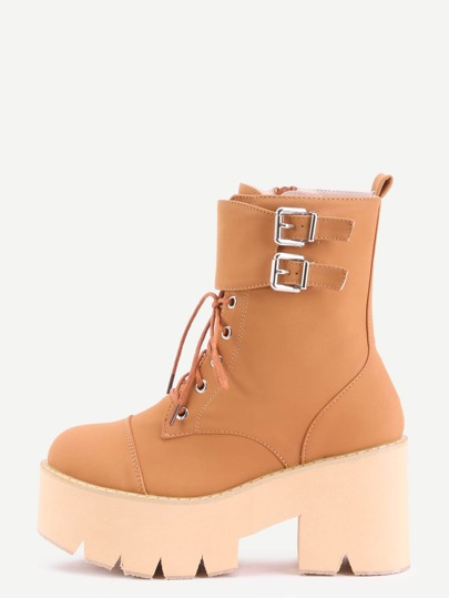 Brown Nubuck PU Cap Toe Lace Up Buckle Strap Platform Short Boots