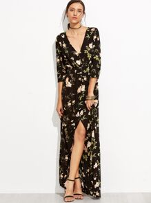 Plunging V-neckline Florals Buttons Front Dress