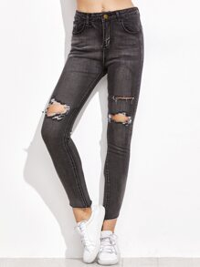 Black Ripped Fringe Denim Pants