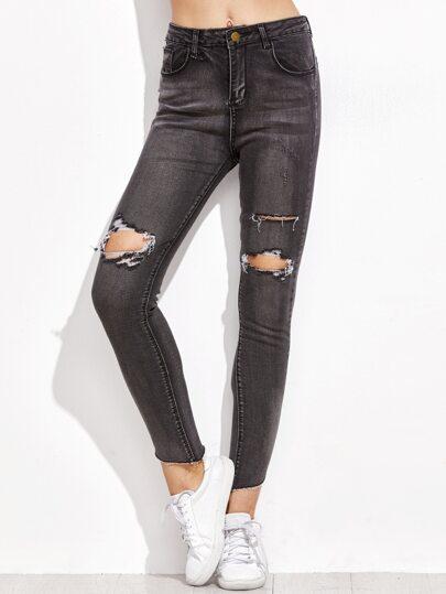 Black Ripped Fringe Denim Pants