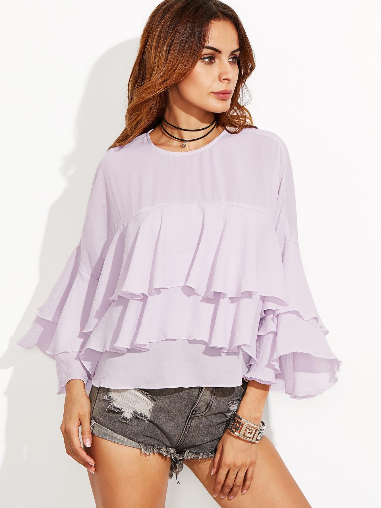 Purple Bell Sleeve Layered Ruffle TopPurple Bell Sleeve Layered Ruffle Top<br><br>color: Purple<br>size: L,M,S,XS