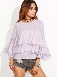 Purple Bell Sleeve Layered Ruffle Top