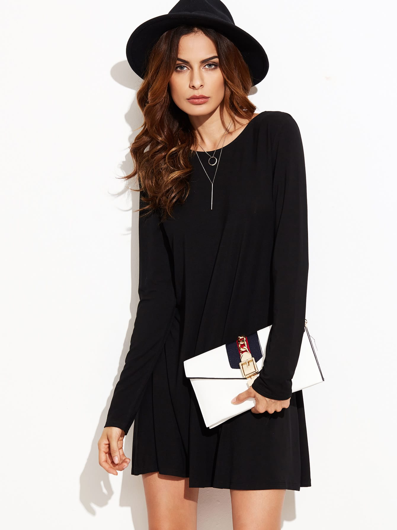 Фото Black Long Sleeve Swing Dress. Купить с доставкой