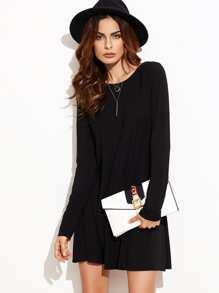 Swing Kleid Langarm - schwarz